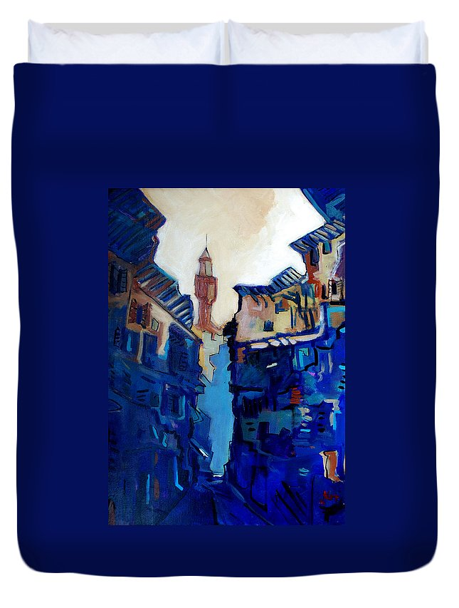 Florence Duvet Cover featuring the painting Firenze Street Study by Kurt Hausmann