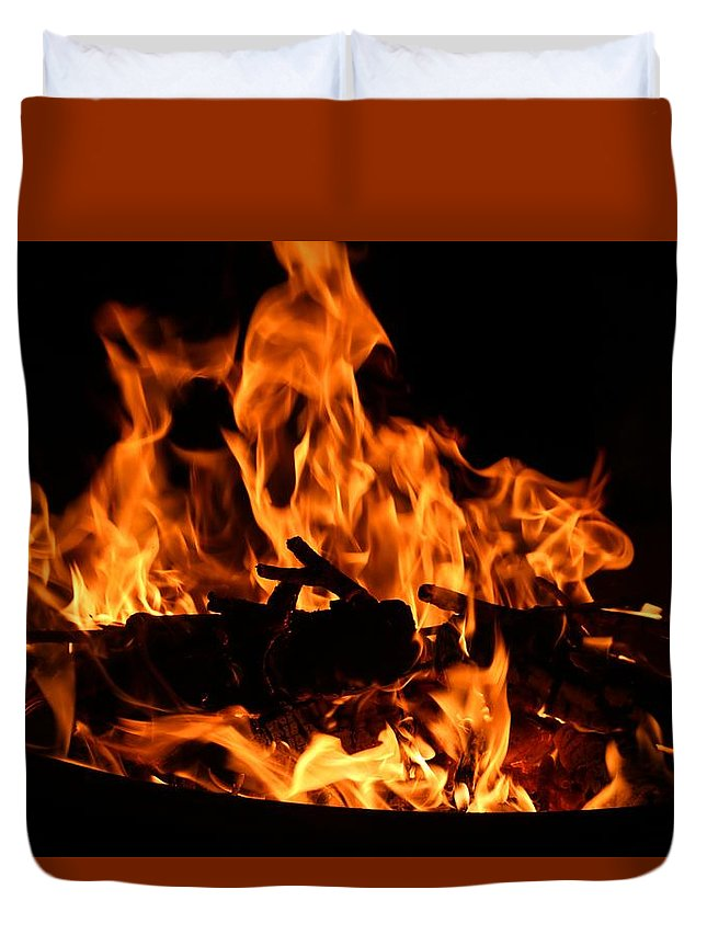 Firepit Duvet Cover featuring the photograph Firepit by Kathryn Meyer
