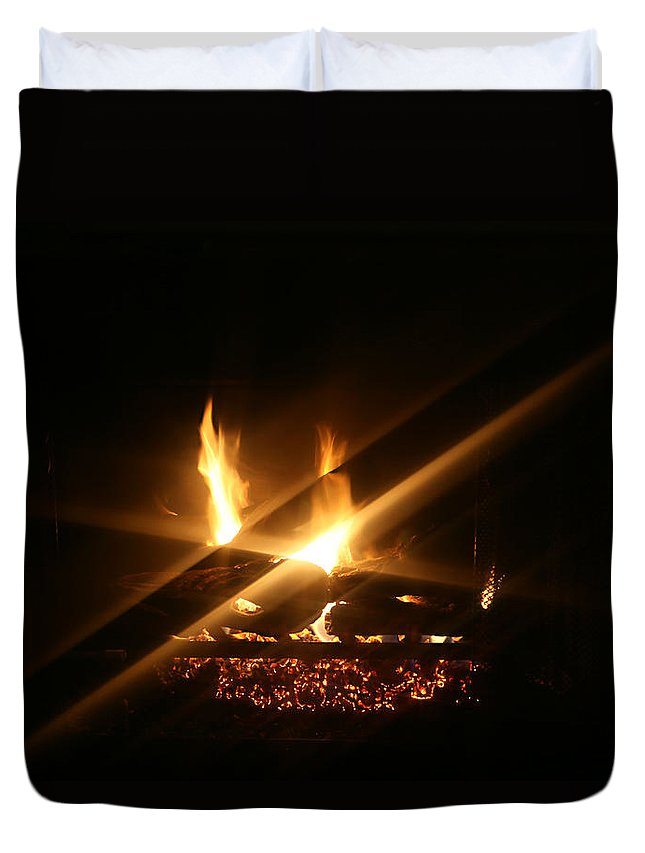 Fireplace Duvet Cover featuring the photograph Fireplace by Ellen Henneke
