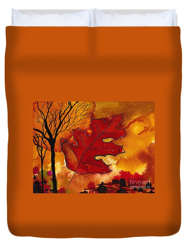Fire Duvet Cover featuring the painting Firestorm by Susan Kubes