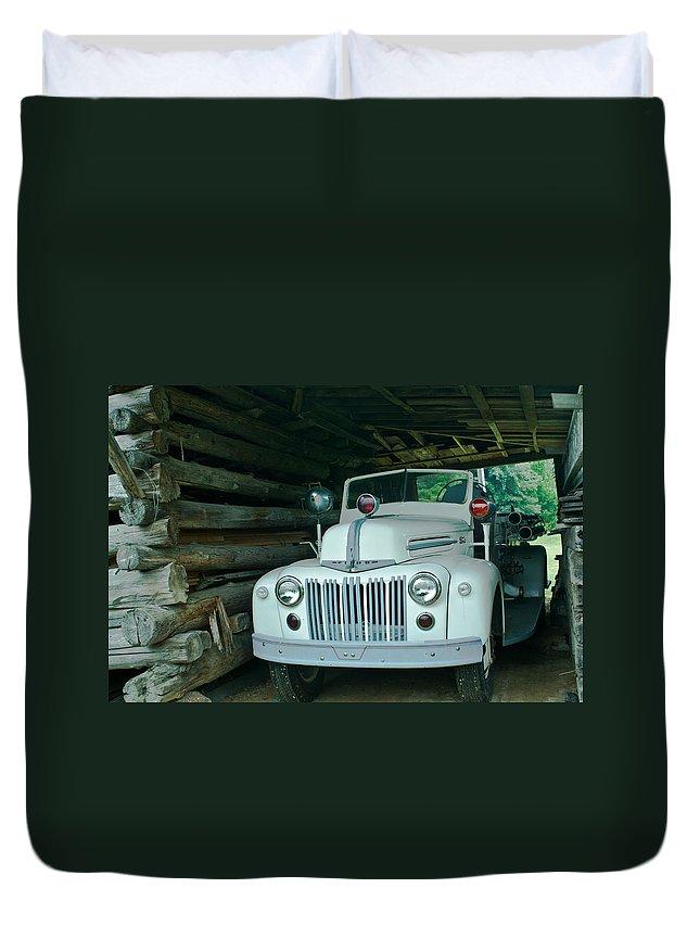Firetruck Duvet Cover featuring the photograph Firetruck In A Barn by Douglas Barnett