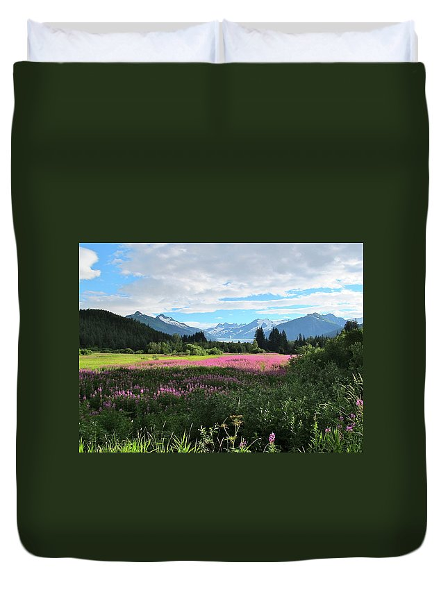 Fireweed Duvet Cover featuring the photograph Fireweed At Mendenhall Glacier, Juneau, Ak by Mark Hill