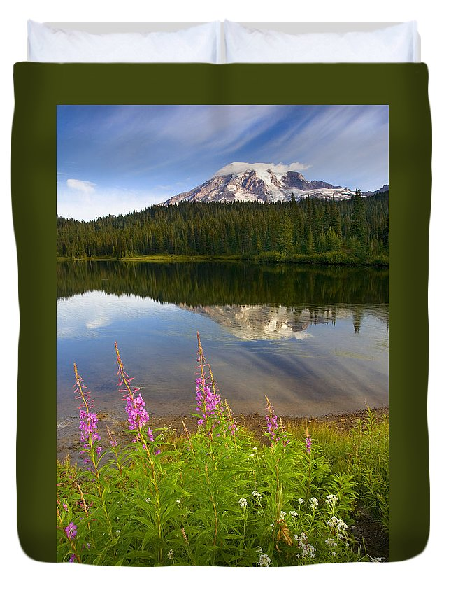Fireweed Duvet Cover featuring the photograph Fireweed Reflections by Mike Dawson