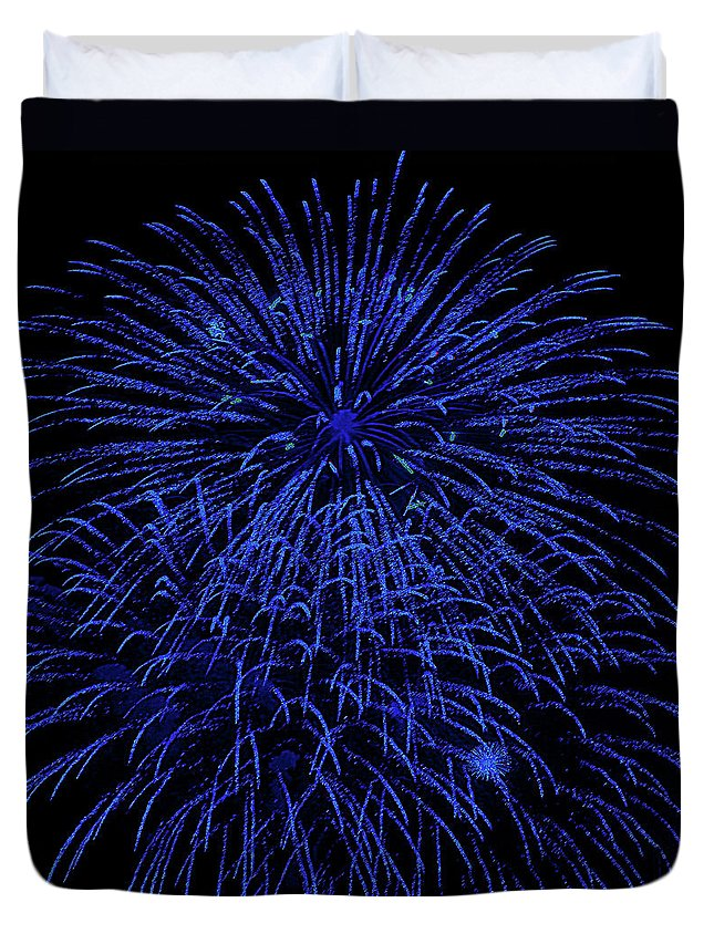 Fireworks Duvet Cover featuring the digital art Firework Blues by DigiArt Diaries by Vicky B Fuller