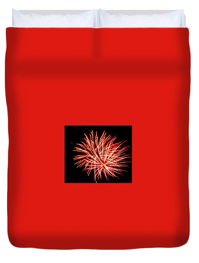 Fireworks Duvet Cover featuring the photograph Firework Fireball by Adrienne Wilson