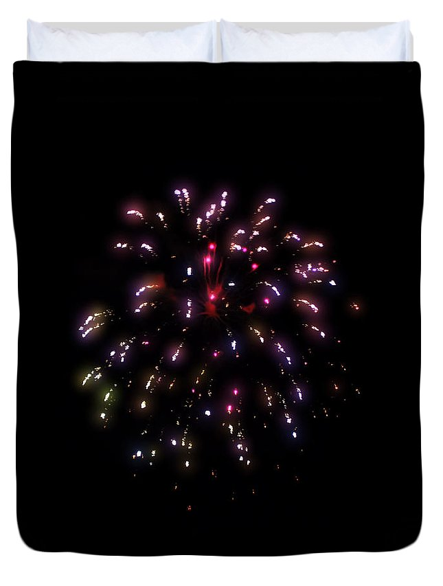 Fireworks Duvet Cover featuring the photograph Fireworks 13 by Cathy Anderson