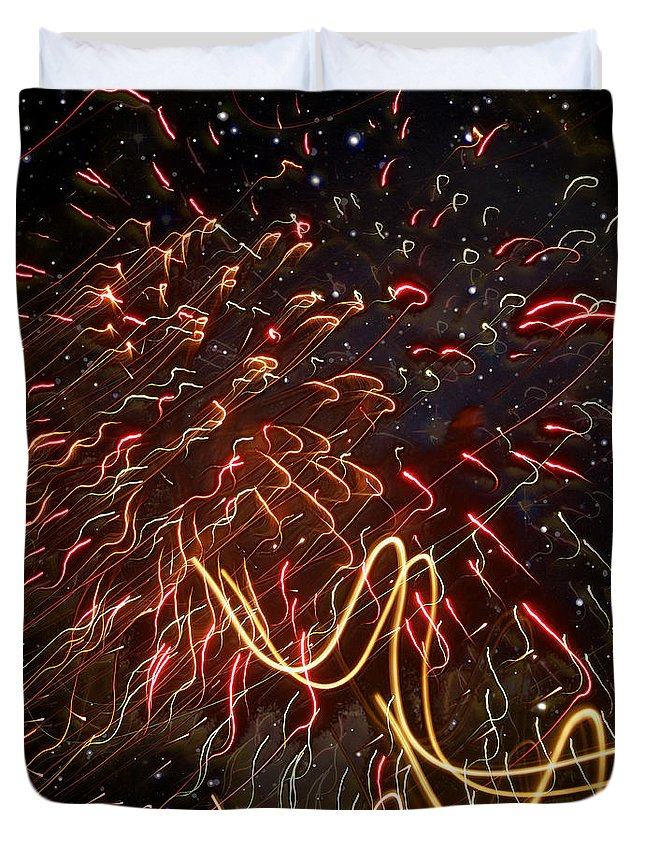 Day Duvet Cover featuring the photograph Fireworks Against The Stars by Mark Sellers