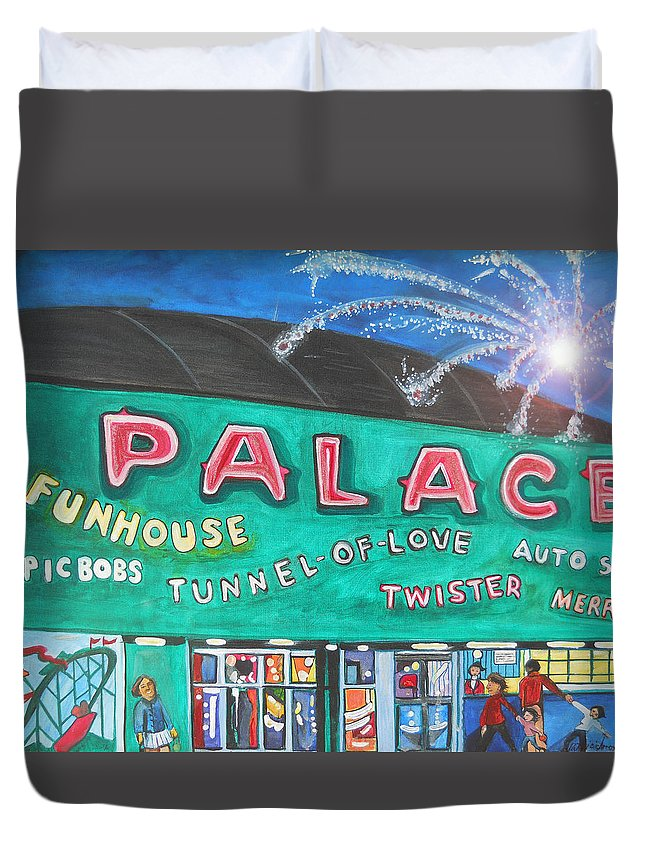 Asbury Park Art Duvet Cover featuring the painting Fireworks At The Palace by Patricia Arroyo