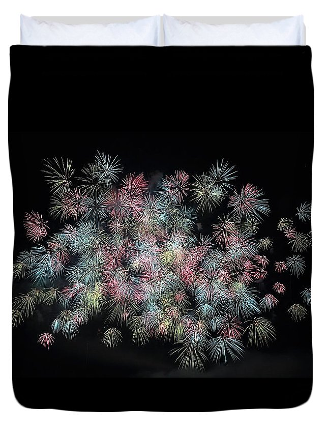 Fireworks In Japan Duvet Cover featuring the photograph fireworks in Japan by Happy Home Artistry