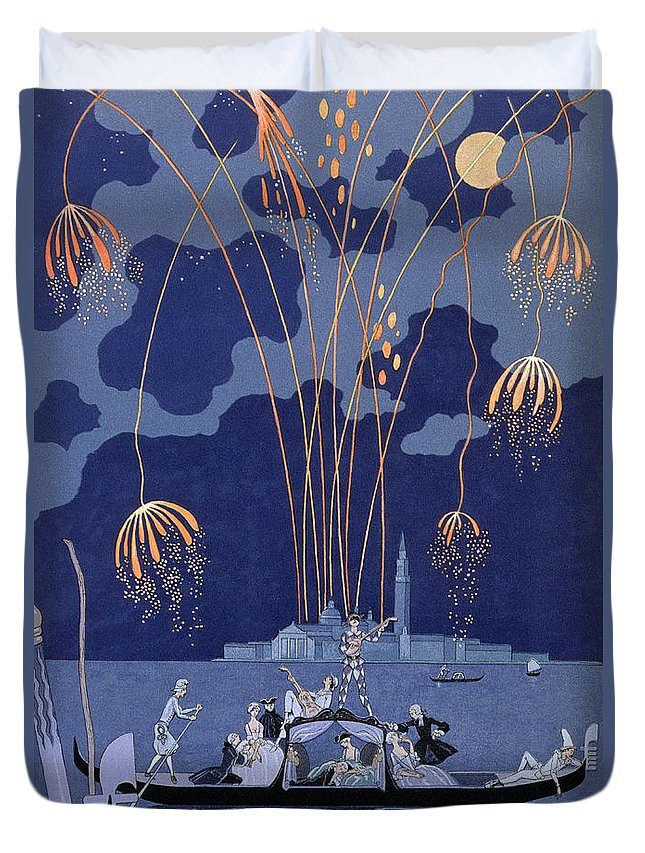 Art Deco; Stencil; Night; Grand Canal; Campanile; Gondola; Boat; Minstrels; Lovers; Couples; Musicians; 18th Century Costume; Poem; Romantic Duvet Cover featuring the painting Fireworks In Venice by Georges Barbier