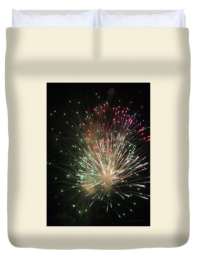 Fireworks Duvet Cover featuring the photograph Fireworks by Margie Wildblood