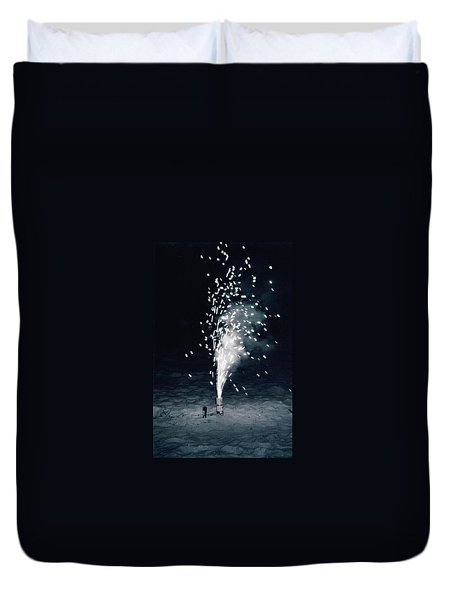 Fire Works Duvet Cover featuring the photograph Fireworks by Michelle Powell