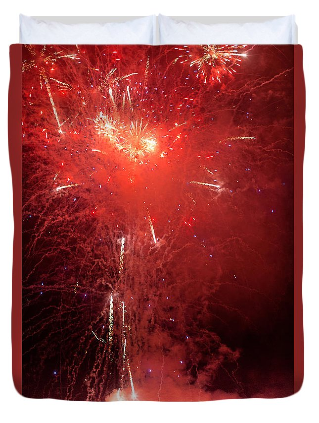 Firewalks Duvet Cover featuring the photograph Fireworks Over Humboldt Bay by Greg Nyquist