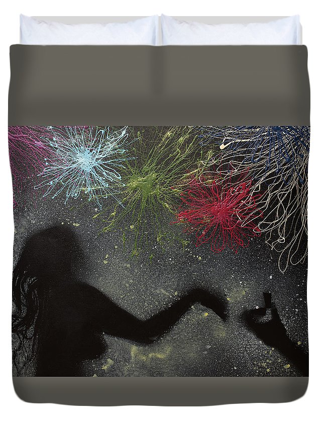 Body Prints Painting Duvet Cover featuring the painting Fireworks Proposal by April Kasper