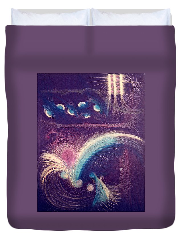 Abstract Duvet Cover featuring the mixed media Fireworks by Steve Karol