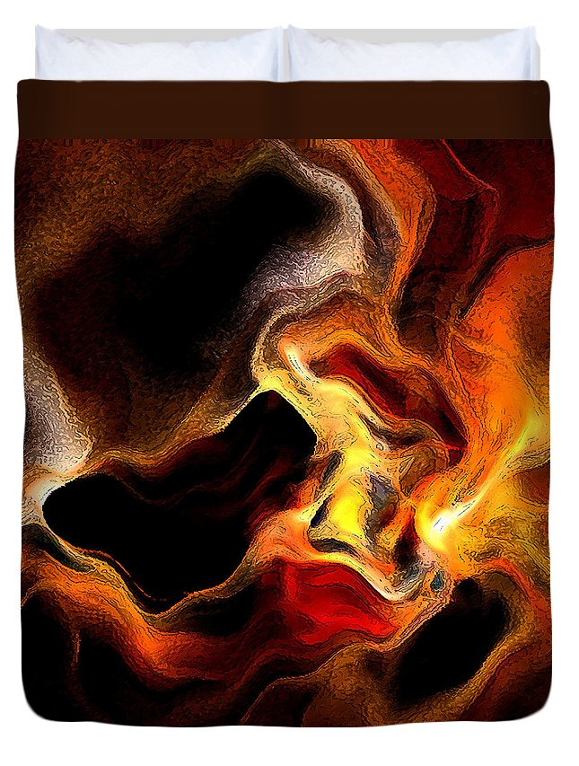 Abstract Duvet Cover featuring the digital art Firey by Ruth Palmer