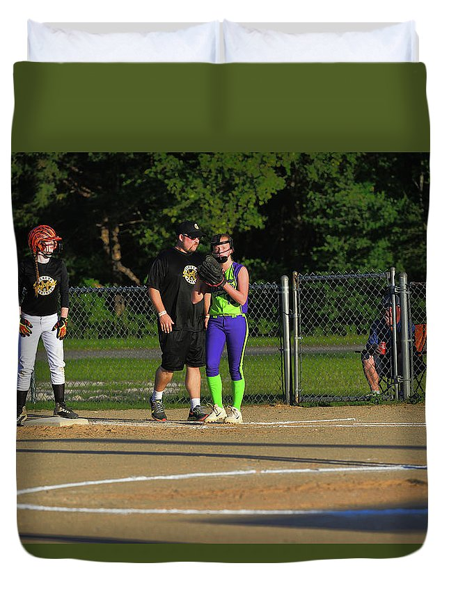 Duvet Cover featuring the photograph First Base Coach by Winston Hudson