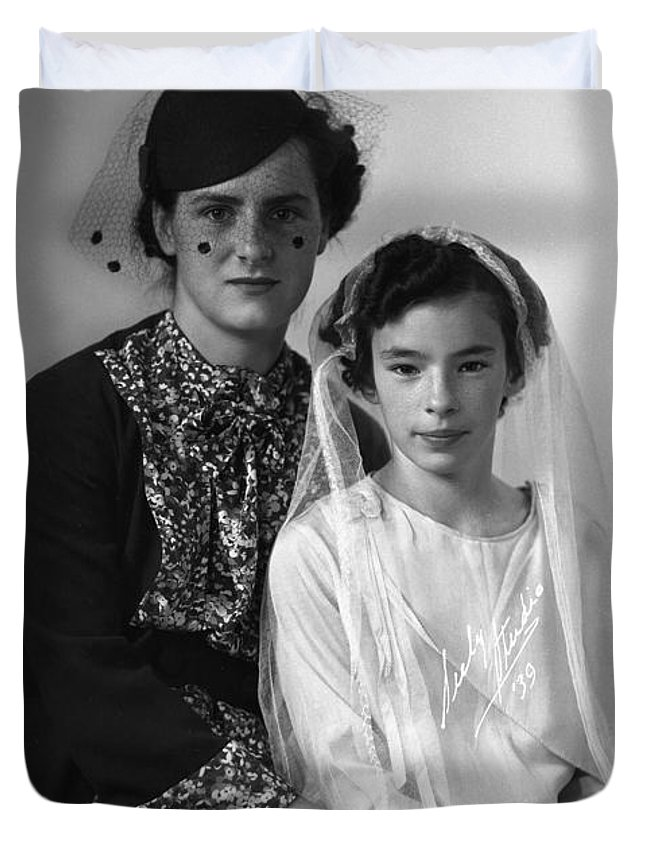 First Communion Duvet Cover featuring the photograph First Communion And Mom by Seely Studio