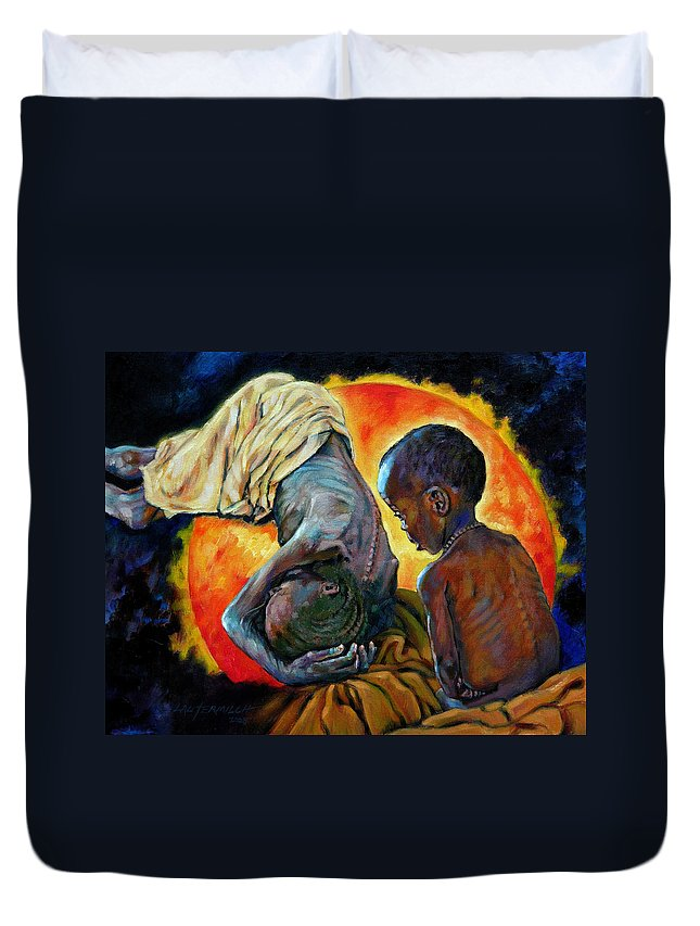 Starvation Duvet Cover featuring the painting First Corinthians 1-25 by John Lautermilch