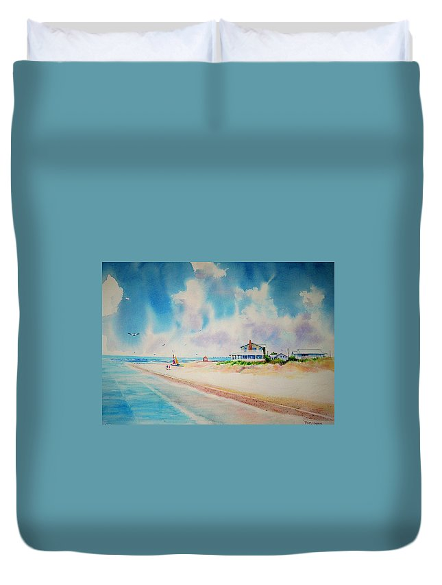 Beach Duvet Cover featuring the painting First Day Of Vacation Is Pricless by Tom Harris