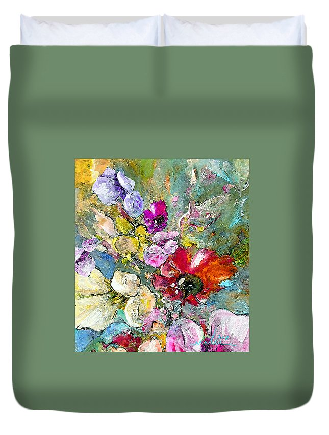 Nature Painting Duvet Cover featuring the painting First Flowers by Miki De Goodaboom