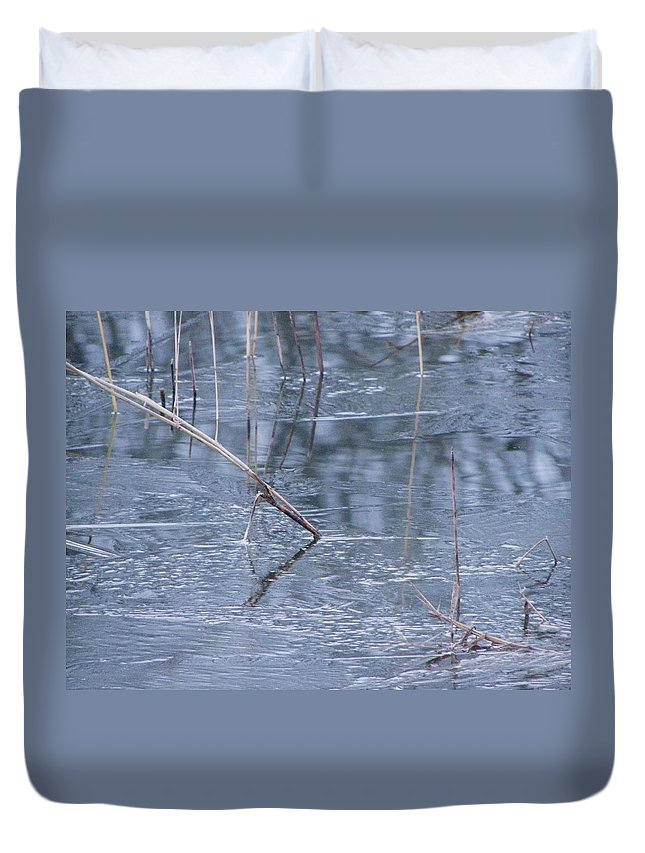 Water Duvet Cover featuring the photograph First Glaze by Peggy King