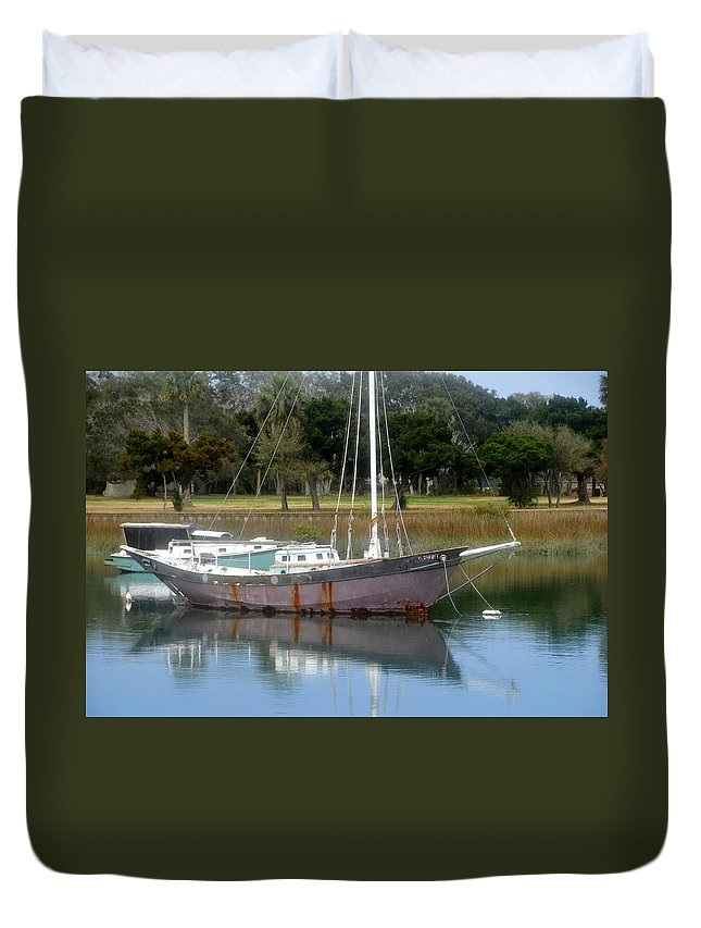 Boat Duvet Cover featuring the photograph First Harbor by David Lee Thompson