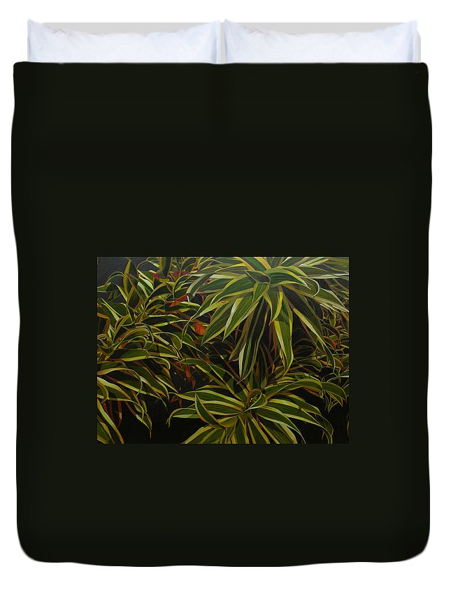 Leaves Duvet Cover featuring the painting First In Cabot by Thu Nguyen