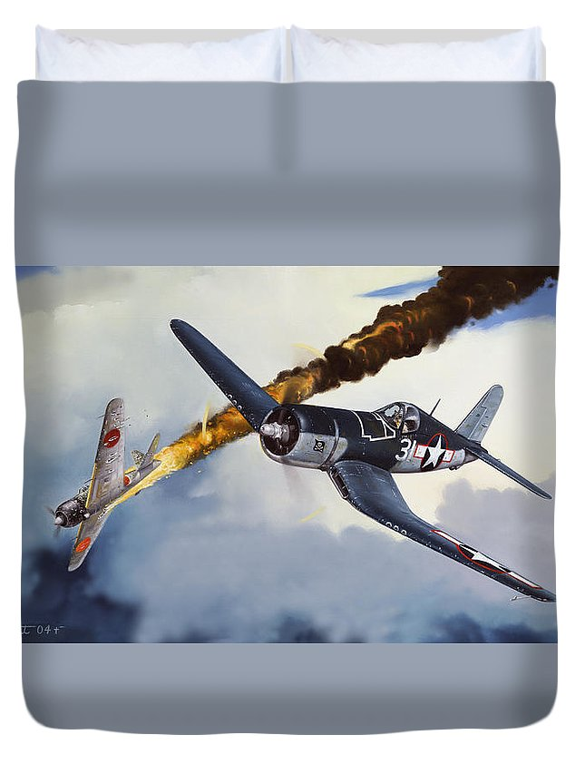 Military Duvet Cover featuring the painting First Kill For The Jolly Rogers by Marc Stewart