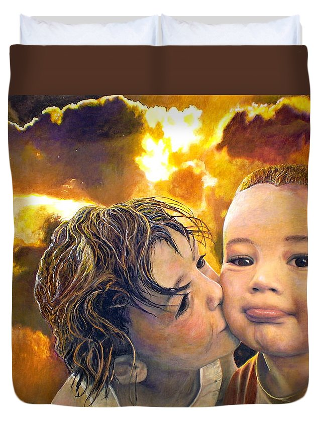 Children Duvet Cover featuring the painting First Kiss by Michael Durst