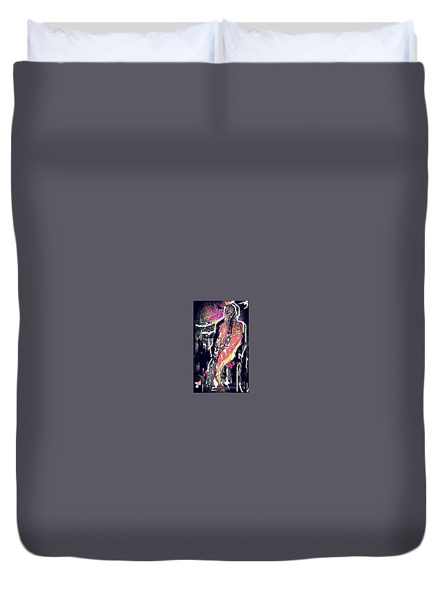 Figure Duvet Cover featuring the painting First Kiss by Subrata Bose
