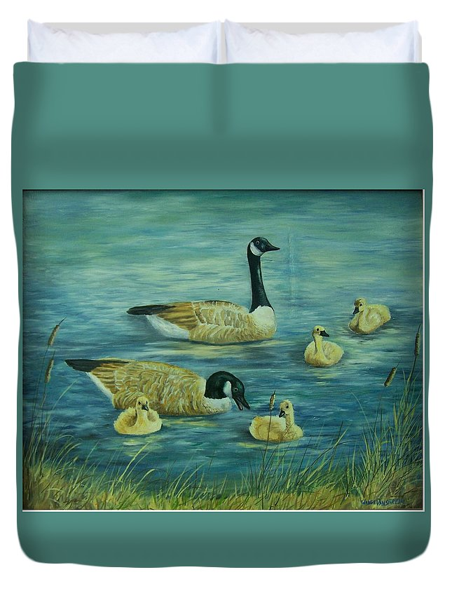 A Pair Of Mallards Duvet Cover featuring the painting First Lesson by Wanda Dansereau