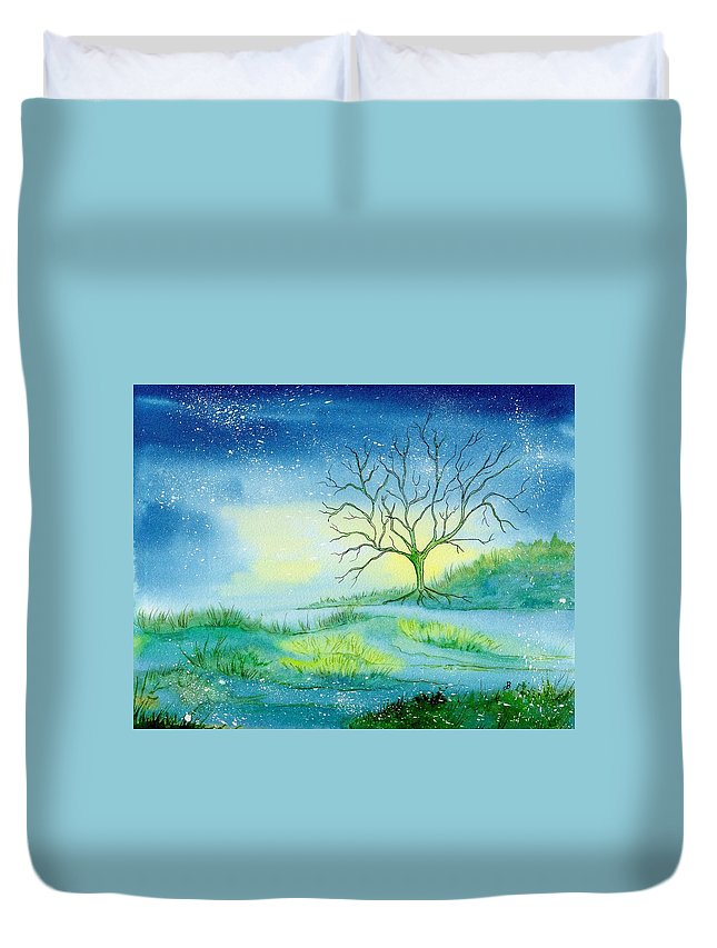 Watercolor Duvet Cover featuring the painting First Light by Brenda Owen