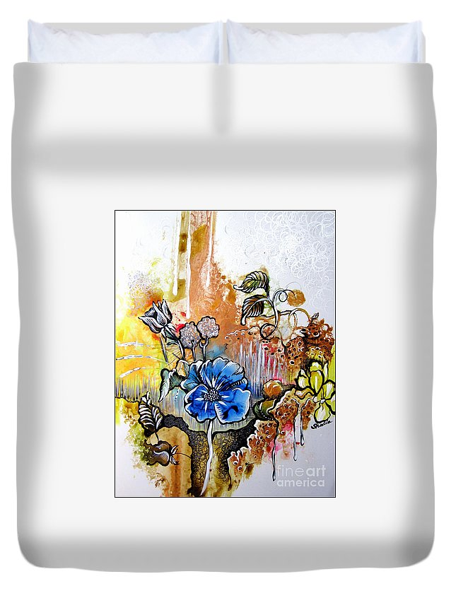 Art Duvet Cover featuring the painting First Light In The Garden Of Eden by Shadia Derbyshire