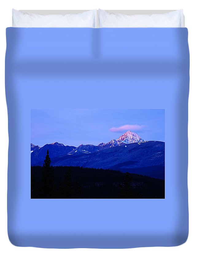 Jasper National Park Duvet Cover featuring the photograph First Light by Larry Ricker
