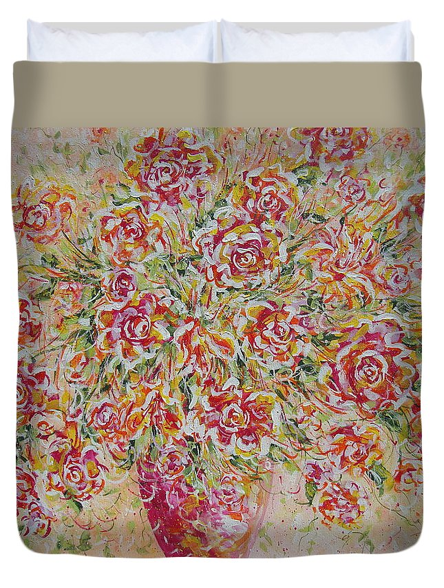 Flowers. Floral Duvet Cover featuring the painting First Love Flowers by Natalie Holland