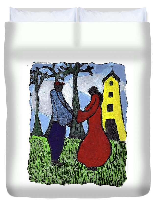 Love Duvet Cover featuring the painting First Love by Wayne Potrafka