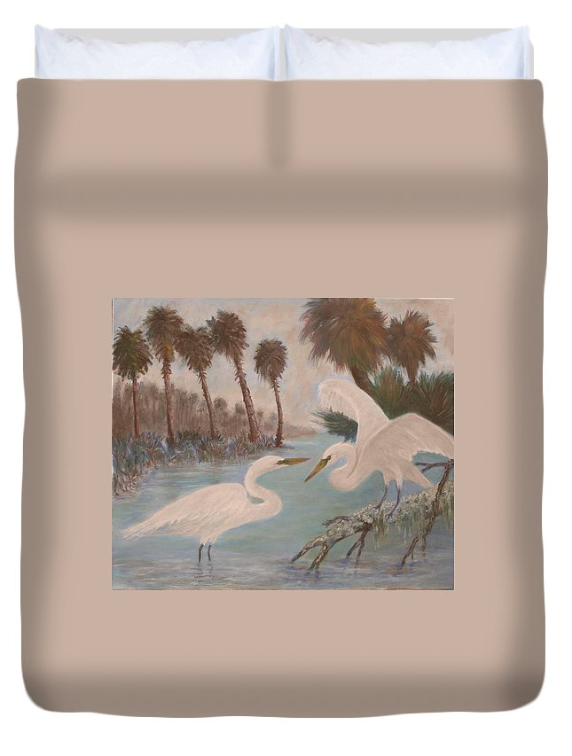 Egret Duvet Cover featuring the painting First Meeting by Ben Kiger