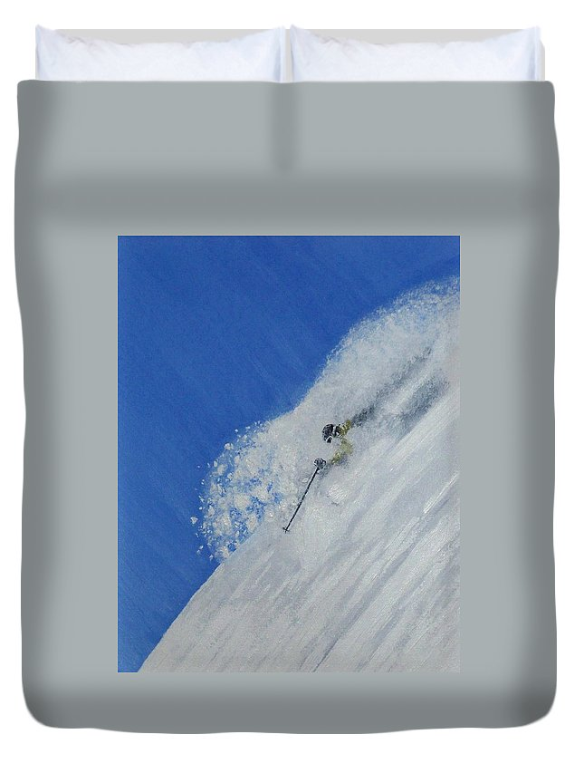 Ski Duvet Cover featuring the painting First by Michael Cuozzo