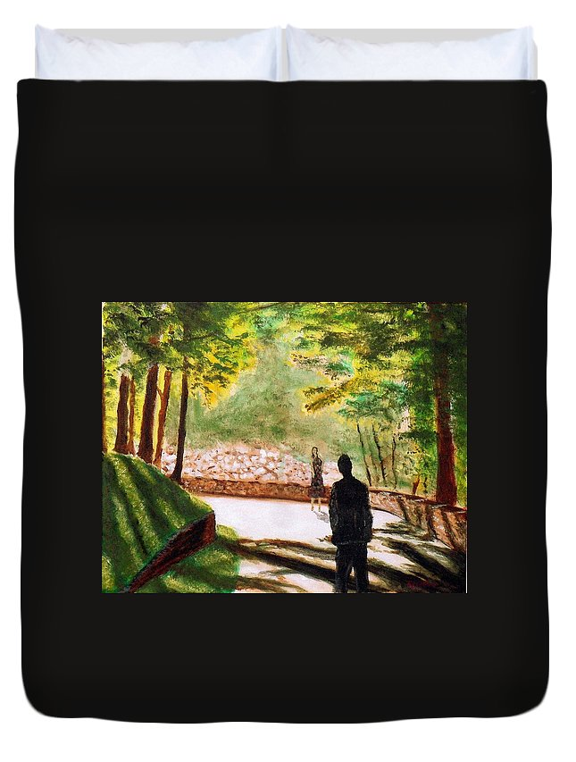 Man Woman Meet Park Woods Silhouette Duvet Cover featuring the painting First Moment by William Tremble