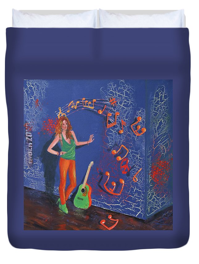 Purple Duvet Cover featuring the painting First Release by Almeta LENNON