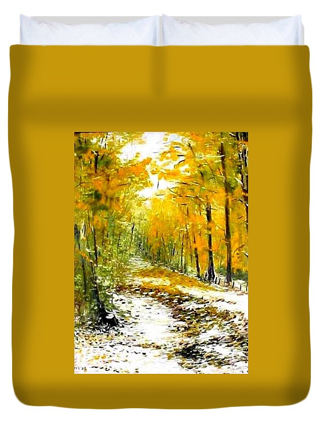 Landscape Duvet Cover featuring the painting First Snow by Boris Garibyan