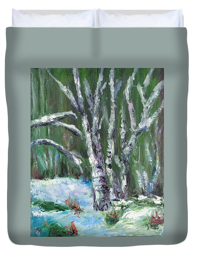 Landscape Duvet Cover featuring the painting First Snow by Eydie Paterson