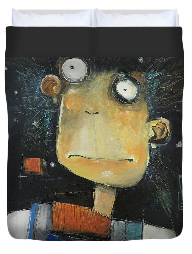 Guy Duvet Cover featuring the painting First Snow Guy Aka Whiskey Foxtrot Tango by Tim Nyberg