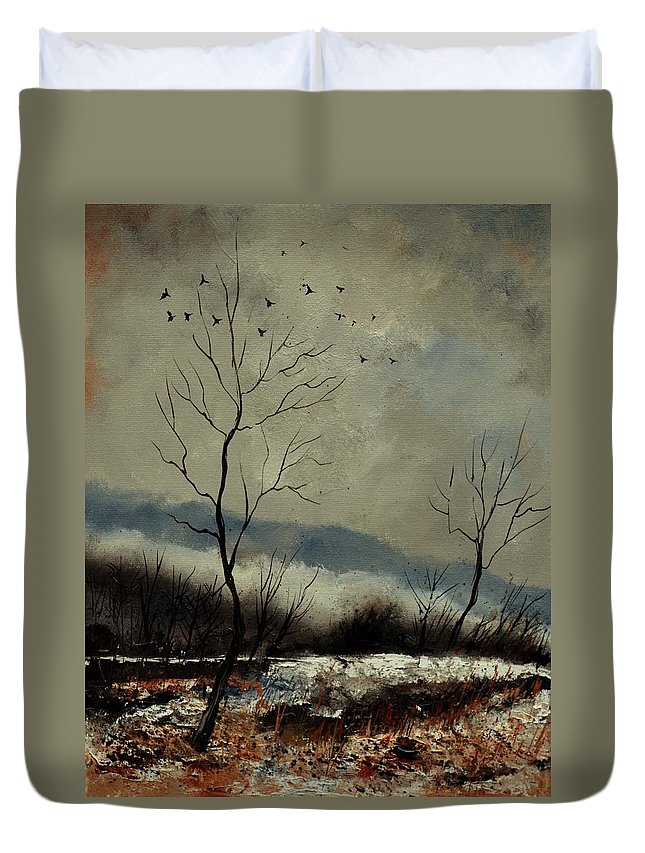 Landscape Duvet Cover featuring the painting First snow in Harroy by Pol Ledent