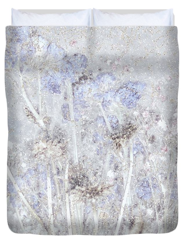 Field Duvet Cover featuring the painting First Snow In The Field by RC deWinter