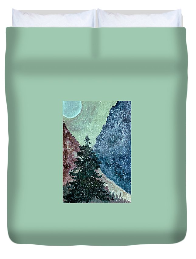 Landscape Duvet Cover featuring the painting First Snowfall by Brenda Owen