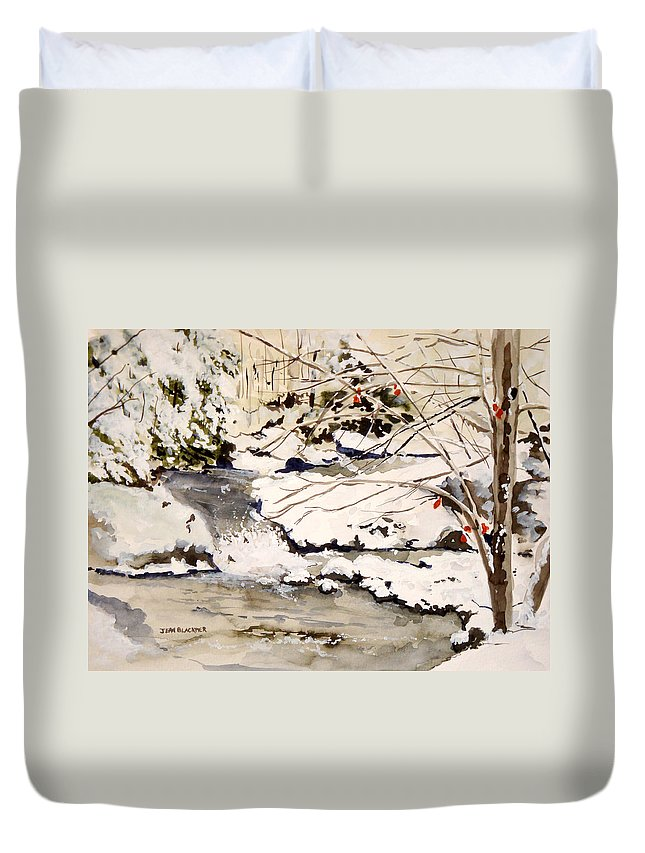 Winter Scene Duvet Cover featuring the painting First Snowfall by Jean Blackmer
