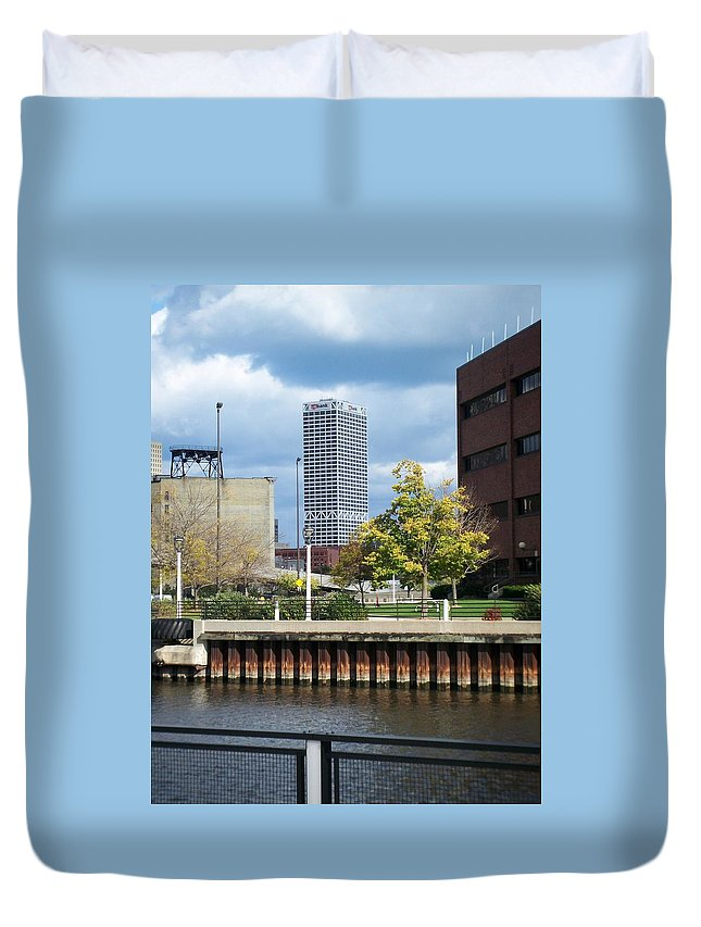 First Star Bank Duvet Cover featuring the photograph First Star Tall View From River by Anita Burgermeister