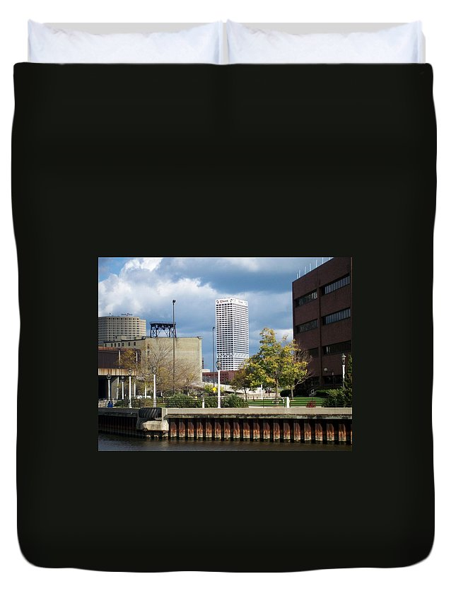 First Star Bank Duvet Cover featuring the photograph First Star View From River by Anita Burgermeister